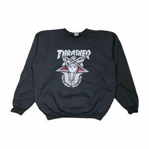 Thrasher 666 Black Sweatshirt Devil Skateboarding